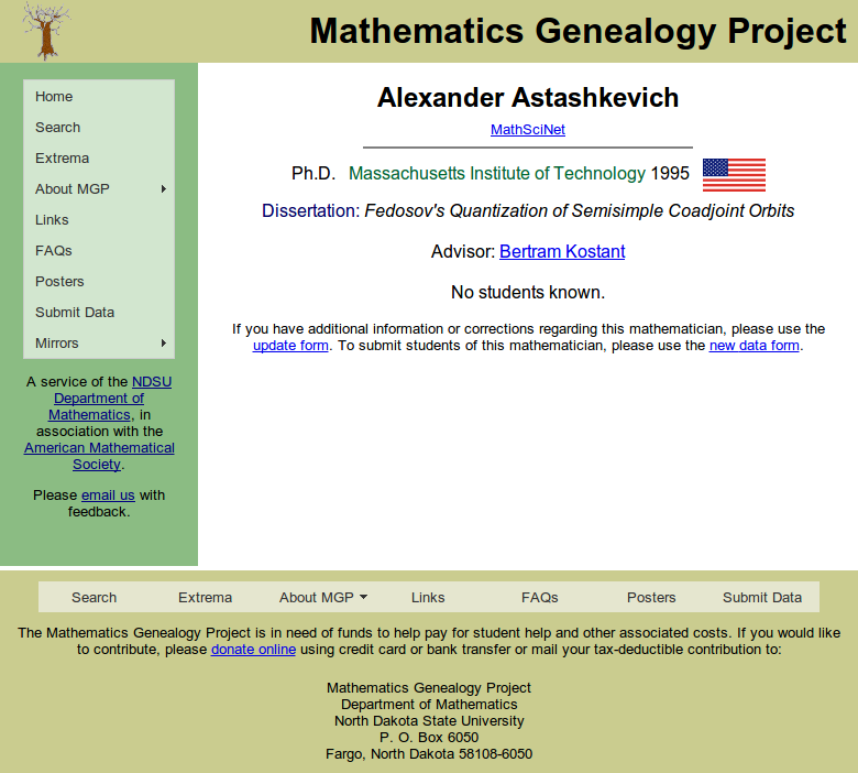 The Mathematics Genealogy Project - Alexander Astashkevich